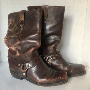 Vintage Brown Leather Square Toes